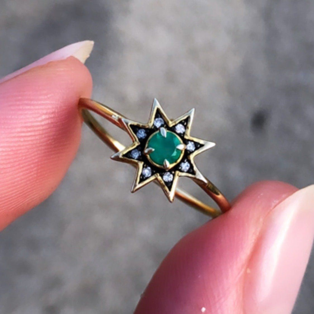 14k Gold Vermeil Emerald & Diamond Pave Star Ring - AVAILABLE TO PURCHASE 23RD SEPTEMBER Ring Pink City
