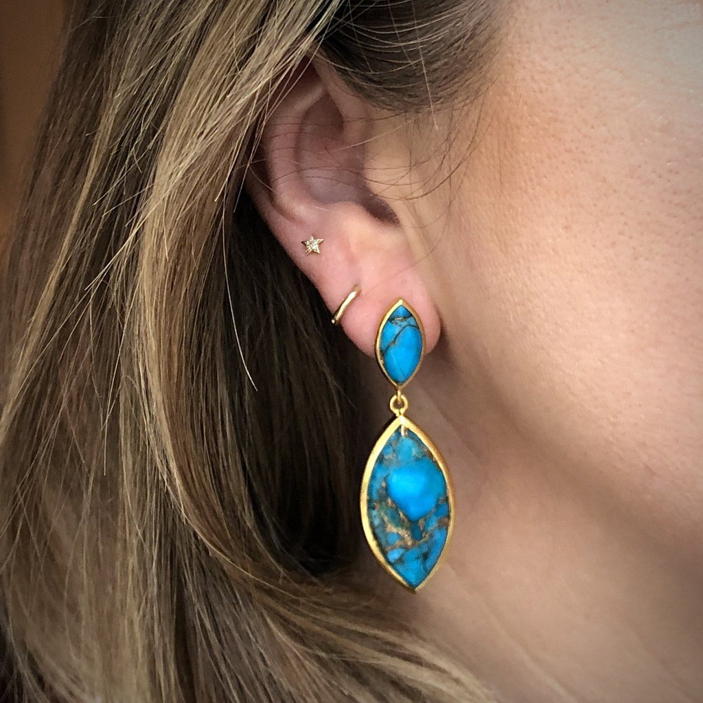 Copper Turquoise Marquise Statement Earrings In Gold Plating