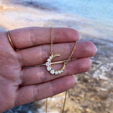 14k Gold Vermeil Tapered Crescent Moon Necklace Necklace Malya