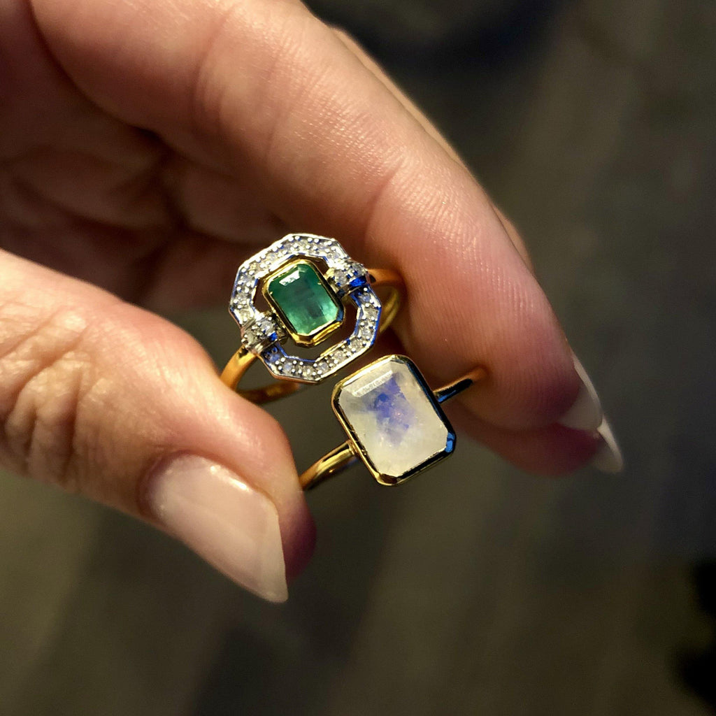 Ethereal Diamond & Emerald Halo Ring In 9k Solid Gold