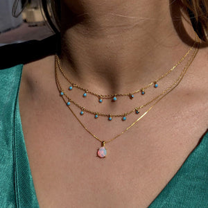 14k Gold Vermeil Faceted Opal Necklace Necklace uv overseas