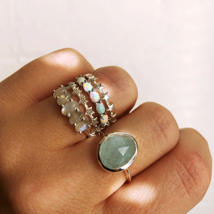 Sterling Silver Simple Semi Precious Stone Ring Aquamarine