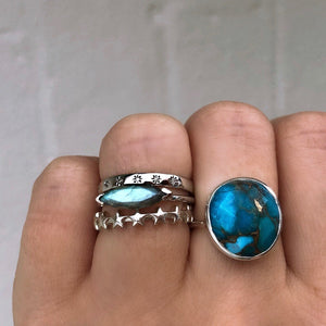 Sterling Silver Statement Copper Turquoise Ring