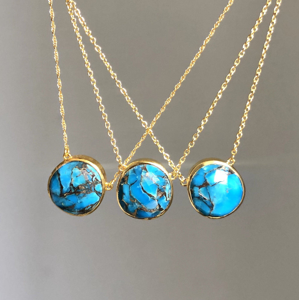 Semi Precious Copper Turquoise Pendant & Earring Set In Gold Vermeil