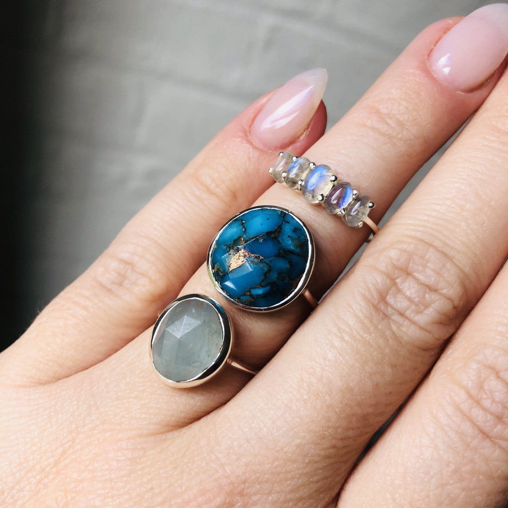 Sterling Silver Statement Copper Turquoise Ring 90.00 New In, Organic, over-80, ring, Semi Precious, Silver, Turquoise