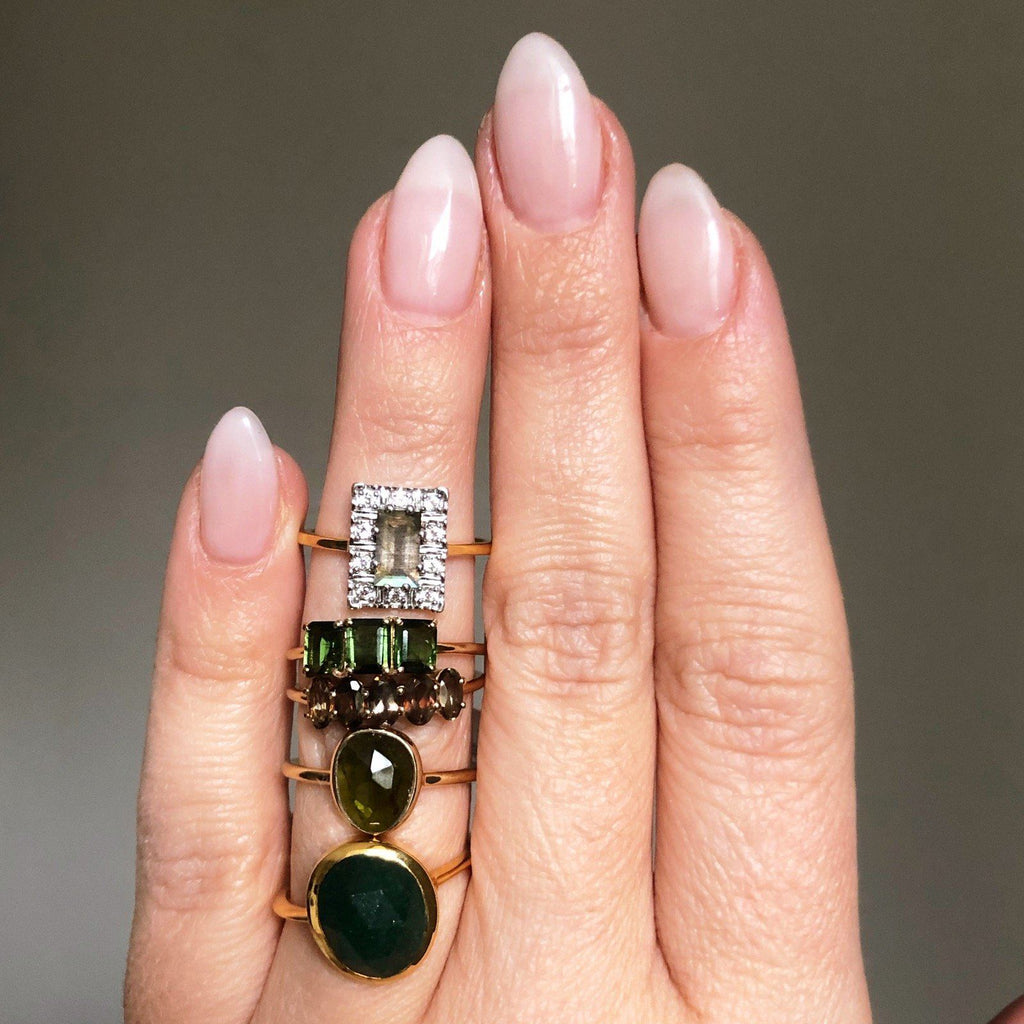 14k Solid Gold Deco Emerald Cut Ring in Green Tourmaline Ring Dwarkas