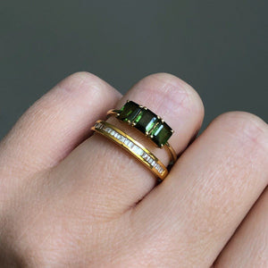 9k Solid Yellow Gold Deco Emerald Cut Ring in Green Tourmaline
