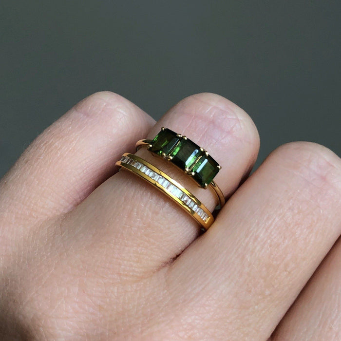 14k Gold Vermeil Deco Emerald Cut Ring in Green Tourmaline Ring Dwarkas
