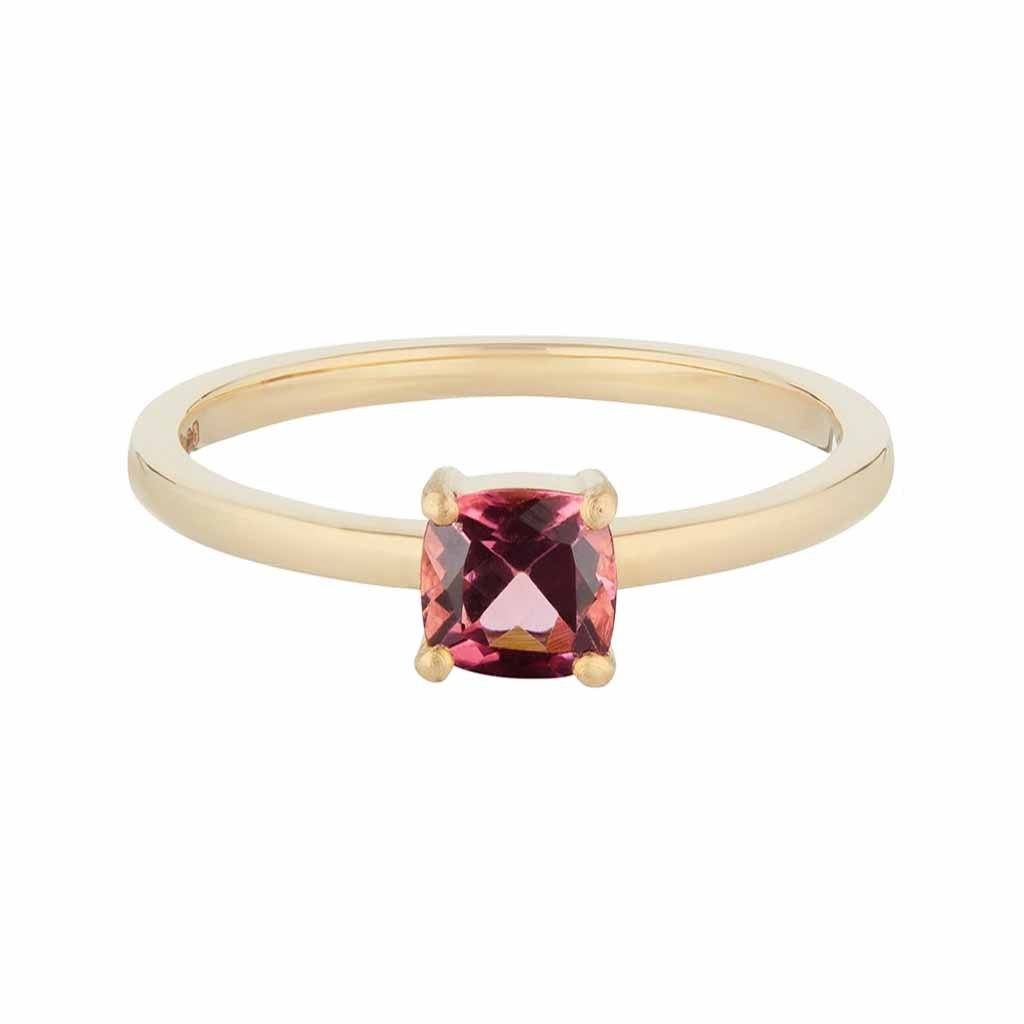 Limited Edition 9k Solid Yellow Gold Dark Pink Tourmaline Ring- 5mm Stone