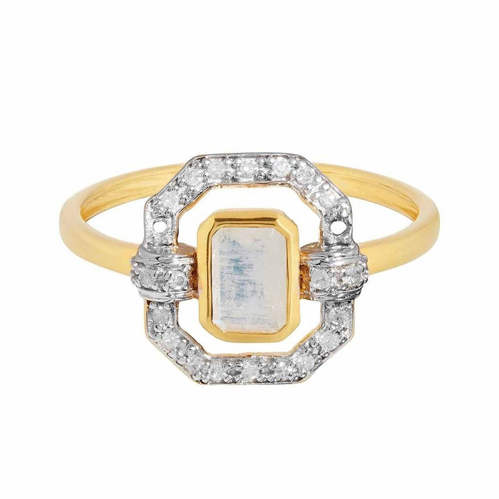 9k Solid Gold Ethereal Diamond Halo Ring in Moonstone
