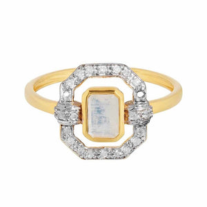 14k Gold Vermeil Ethereal Diamond Halo Ring in Moonstone Ring PINK CITY