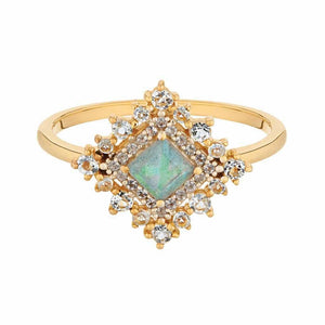 Labradorite & Diamond Regency Ring in Gold Vermeil