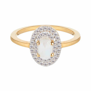 14k Solid Gold Aurora Ring in Moonstone & Diamond