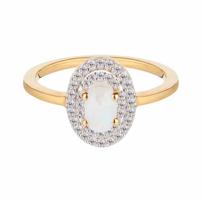 Aurora Moonstone & Diamond Ring In 14k Solid Gold