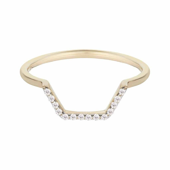 14k Solid Gold Hexagon Diamond Stacking Band
