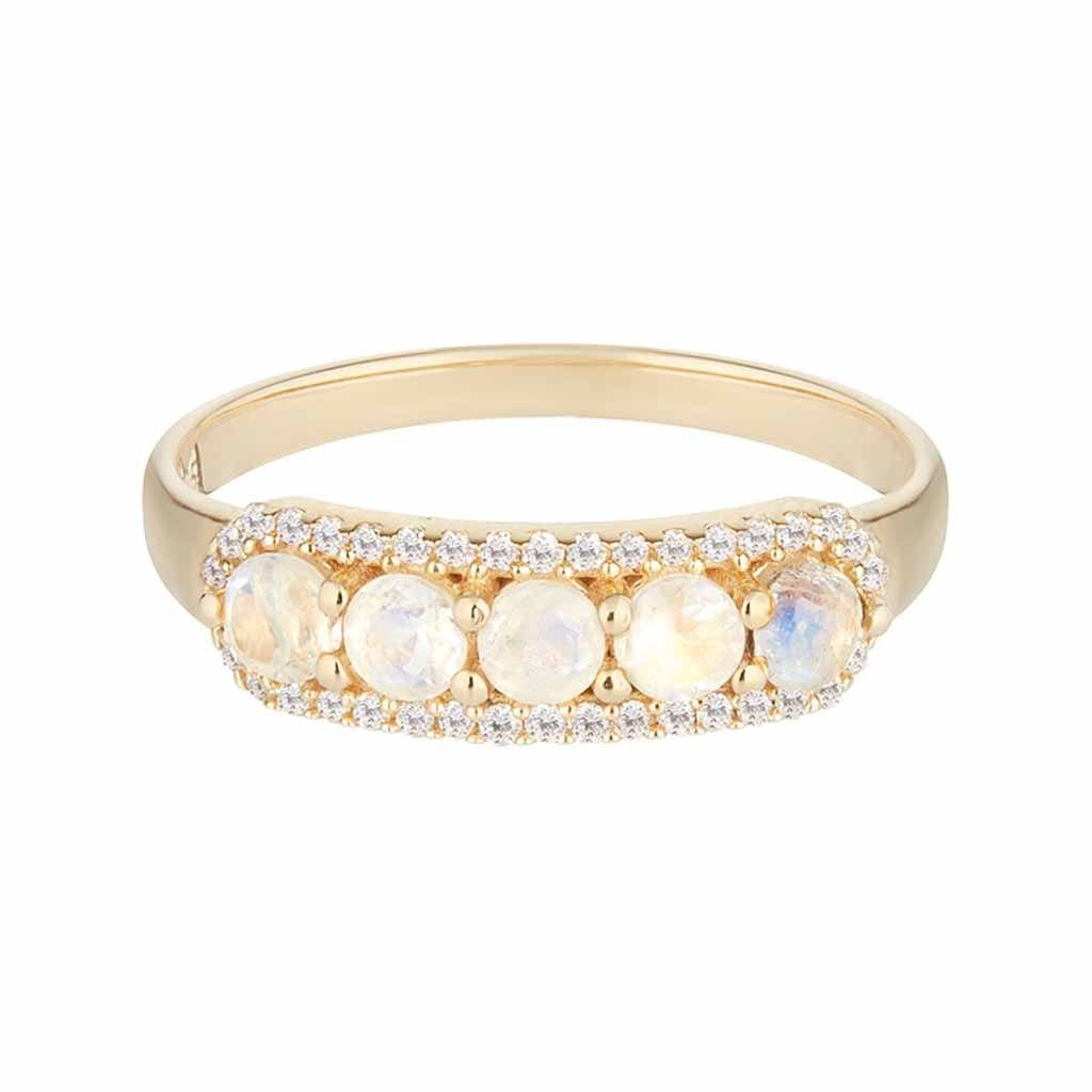 14k Solid Gold Stella Band in Moonstone & Diamonds Ring Pink City