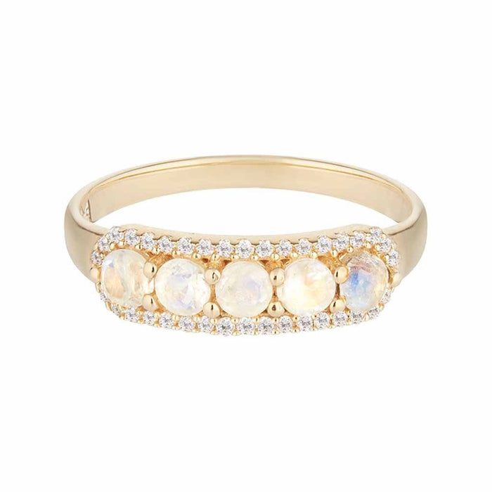 14k Solid Gold Stella Band in Moonstone & Diamonds