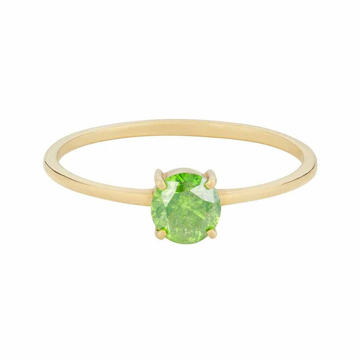 Green Diamond Ring In 9k Solid Yellow Gold