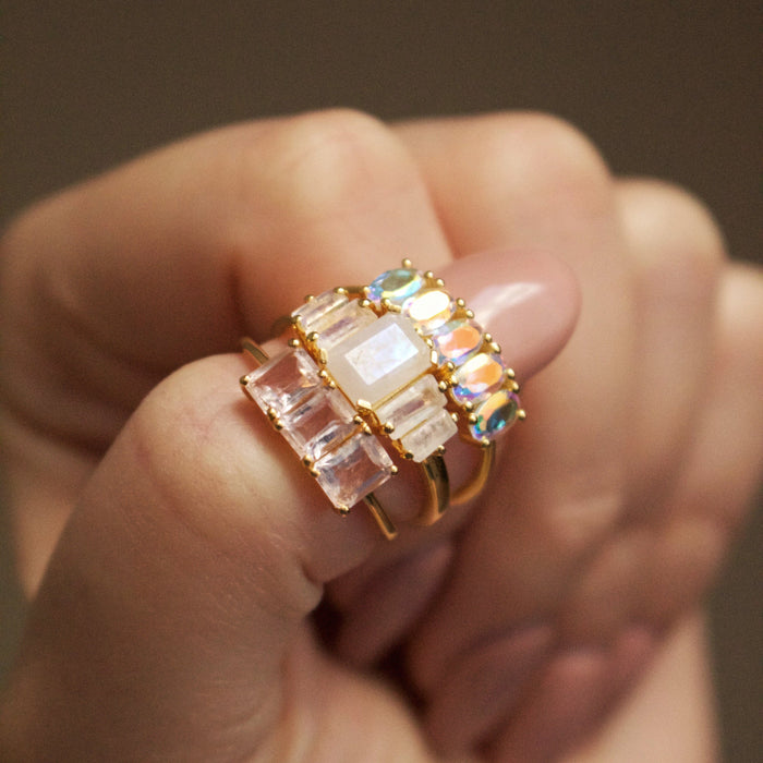 Deco Emerald Cut Rose Quartz Ring in Gold Vermeil