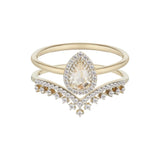 14k Solid Gold Tiara Diamond Band Ring Pink City