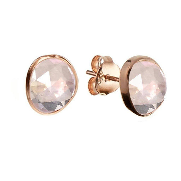 14k Rose Gold Vermeil Simple Earrings in Rose Quartz - Carrie Elizabeth