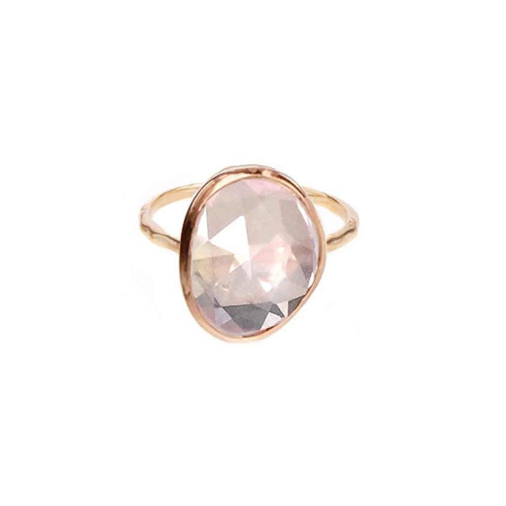 14k Rose Gold Vermeil Simple Semi Precious Stone Ring in Rose Quartz Ring uv overseas Gold Vermeil Small