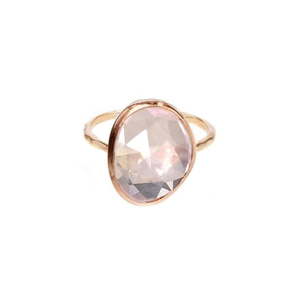 14k Rose Gold Vermeil Simple Semi Precious Stone Ring in Rose Quartz - Carrie Elizabeth