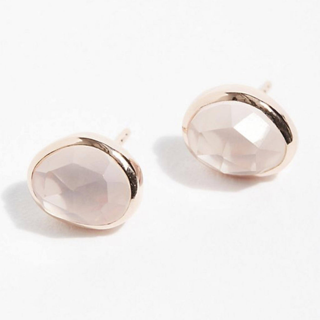 14k Rose Gold Vermeil Simple Earrings in Rose Quartz  bride, Bridesmaid, earrings, Gold, Organic, Rose Gold, Rose Quartz, Semi precious, Studs, under-80, Valentines