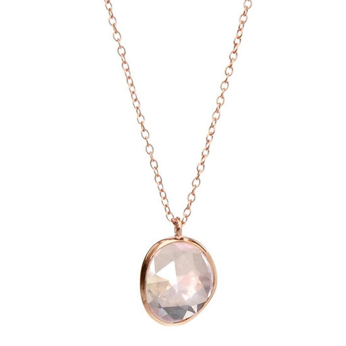 14k Rose Gold Vermeil Semi Precious Stone Pendant in Rose Quartz