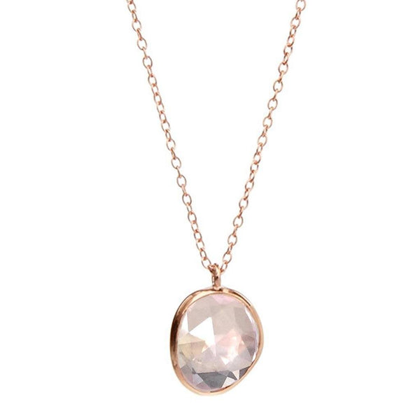 14k Rose Gold Vermeil Semi Precious Stone Pendant in Rose Quartz - Carrie Elizabeth