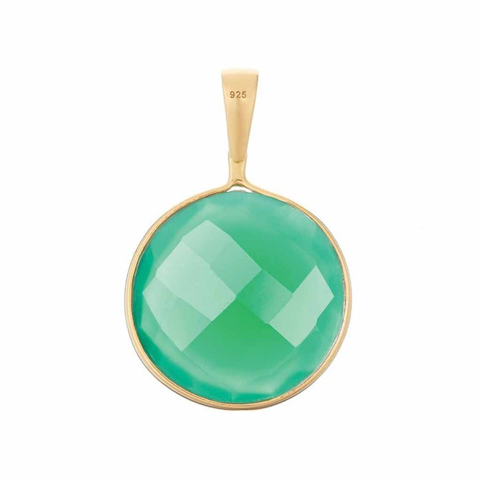 Faceted Round Green Onyx Quartz Pendant in Gold Vermeil