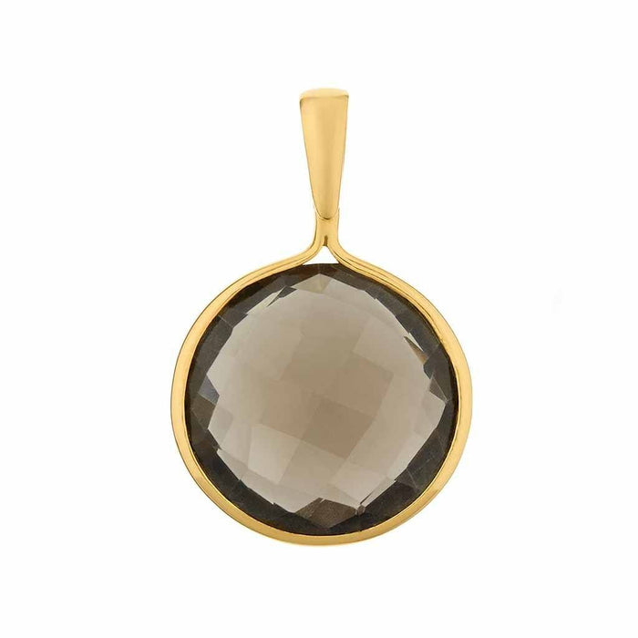 Faceted Round Smoky Quartz Pendant in Gold Vermeil