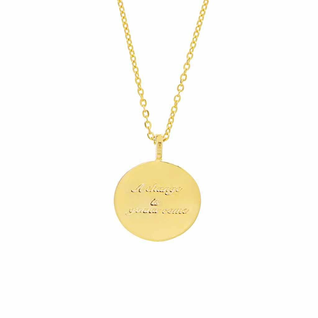"14k Gold Plated ""A change is gonna come"" Coin Necklace Necklace Pink City"