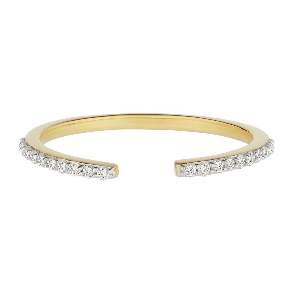 14k Solid Gold Vermeil Open Diamond Ring