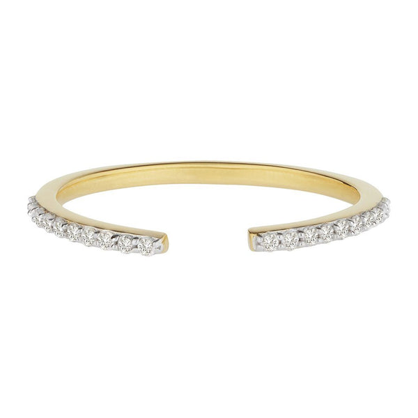 14k Solid Gold Vermeil Open Diamond Ring Ring uv overseas