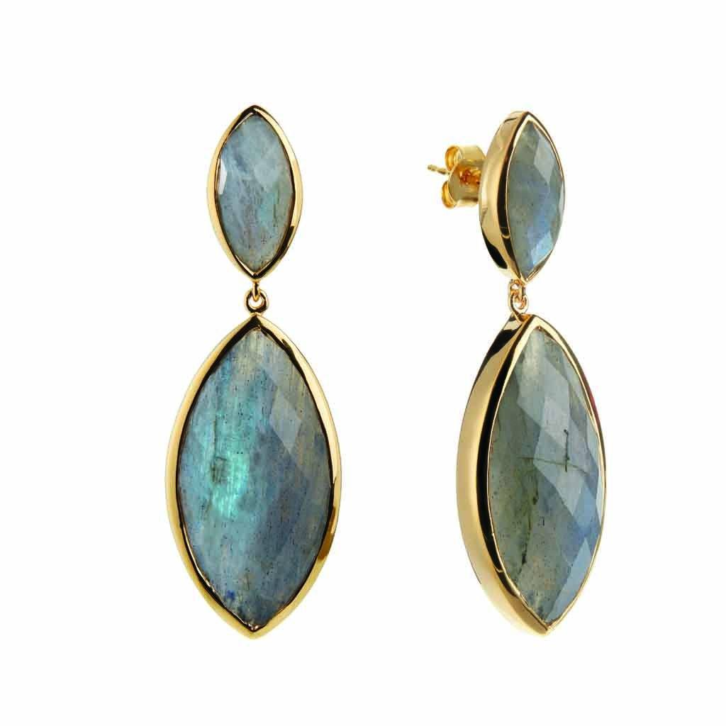 14k Gold Vermeil Marquise Statement Earrings in Labradorite 160.00 earrings, Gold, Labradorite, over-80, Semi Precious, Statement