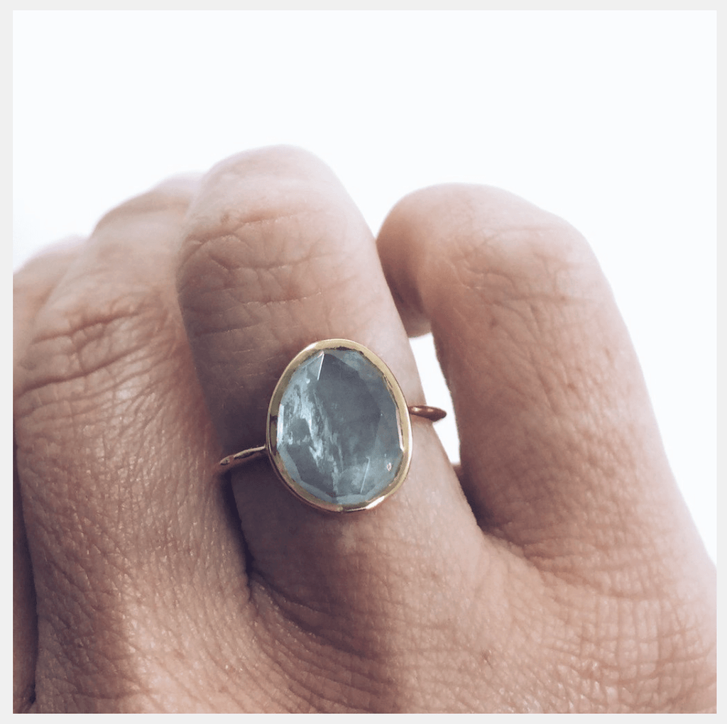 14k Gold Vermeil Simple Semi Precious Stone Ring Aquamarine 80.00 Aquamarine, Best Seller, Gold, Organic, over-80, ring, Semi precious