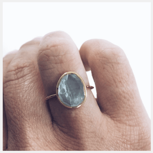 14k Gold Vermeil Simple Semi Precious Stone Ring Aquamarine Ring uv overseas