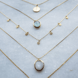 "14k Gold Vermeil Semi Precious Stone Pendant in Moonstone  16"", Best Seller, Bestseller, bride, Bridesmaid, Gold, Moonstone, necklace, Organic, over-80, Semi Precious"