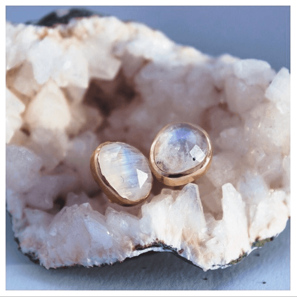 Simple Moonstone Earrings in Gold Vermeil
