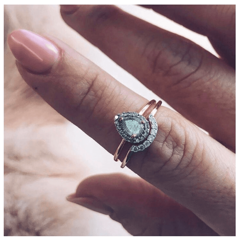 14k Solid Gold Pear Shape Moonstone & Diamond Ring 800.00 14k Solid Gold, Diamond, Engagement, Moonstone, over-80, ring, Solid Gold, Wedding, Wedding Rings