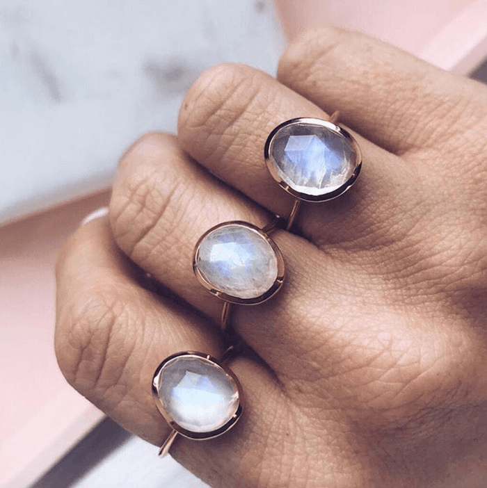 14k Gold Vermeil Simple Semi Precious Stone Ring in Moonstone Ring uv overseas