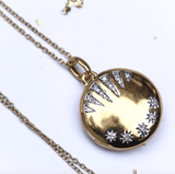 "14k Gold Vermeil Shooting Star Diamond Locket  18"", Cosmos, Diamond, Gold, Lockets, Meaningful, Metal, necklace, over-80, Valentines"