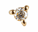 9K Solid Gold Diamond Stud Earring Earrings Dwarkas 9k Yellow Solid Gold - SINGLE