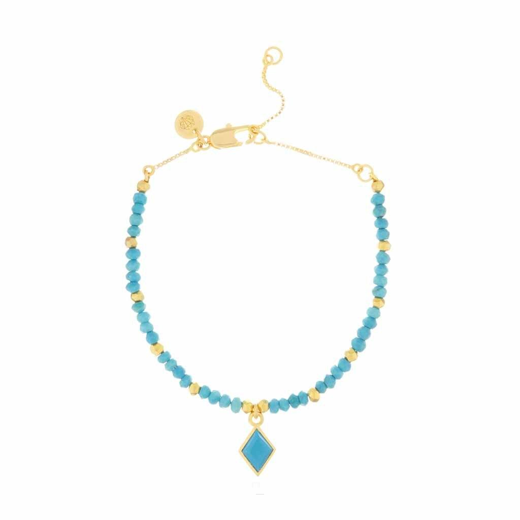 Turquoise Charm Bracelet in Gold Plated Brass