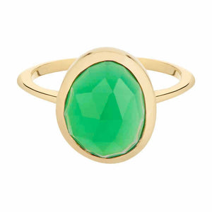 Green Onyx Semi Precious Stone Ring in Gold Vermeil