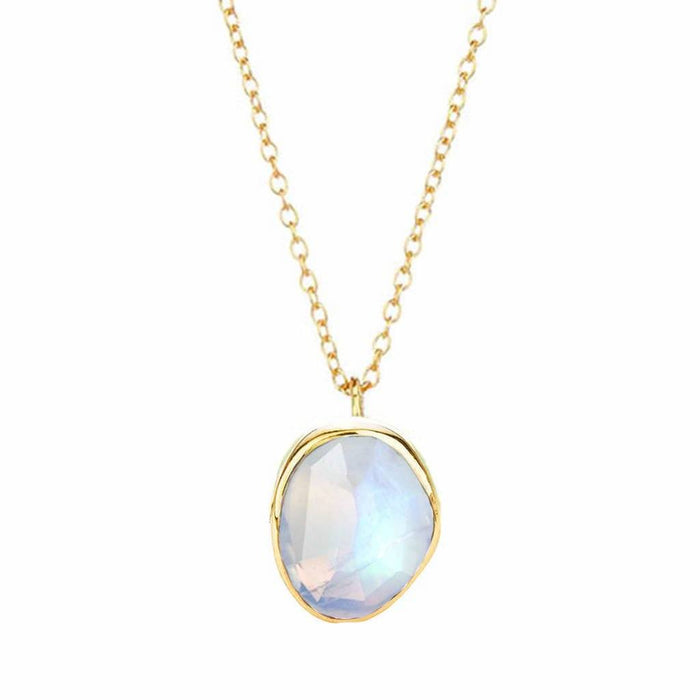 Semi Precious Moonstone Pendant In Gold Vermeil