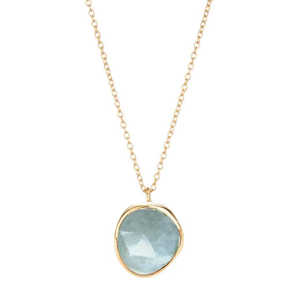 14k Gold Vermeil Semi Precious Stone Pendant in Aquamarine Necklace Malya Gold