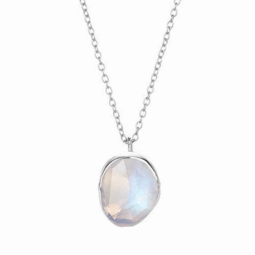 "Sterling Silver Semi Precious Stone Pendant in Moonstone 75.00 16"", bride, Bridesmaid, Moonstone, necklace, Organic, Semi Precious, Silver, under-80"