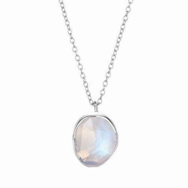 Sterling Silver Semi Precious Stone Pendant in Moonstone Necklace Malya Silver